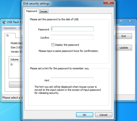 USB Flash Security Screen shot